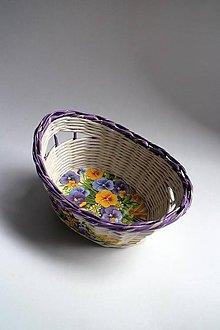 Košíky - Košík papierový - Fialový malý | Fialky I - 8667471_