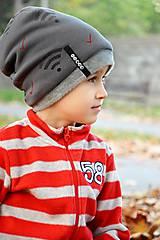 Detské čiapky - Zimná čiapka s menom Dark grey & Wifi - 8668304_