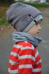 Detské čiapky - Zimná čiapka s menom Dark grey & Wifi - 8668316_
