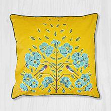 Úžitkový textil - Vankúš - lastovička a ľan - 8666352_