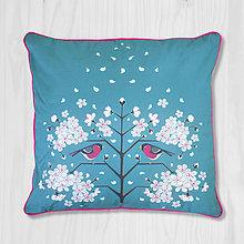 Úžitkový textil - Vankúš - hýľ a čerešňový kvet - 8666363_