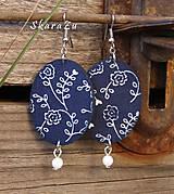 Náušnice - Floral indigo - 8668916_