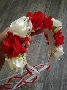 Ozdoby do vlasov - Cerveno biela parta - 8665476_