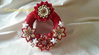 Dekorácie - Vianočný venček - červeno-bielo-zlatý - 8671057_