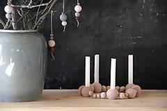 Svietidlá a sviečky - Drevený svietnik - 8669484_