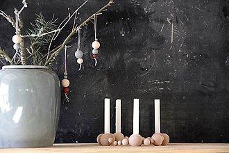 Svietidlá a sviečky - Drevený svietnik  (Béžová) - 8669492_