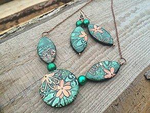 Sady šperkov - Zelená-kvetovaná sadička - 8672049_