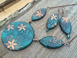 Sady šperkov - Tyrkysovozelená-kvetovaná sadička - 8672236_