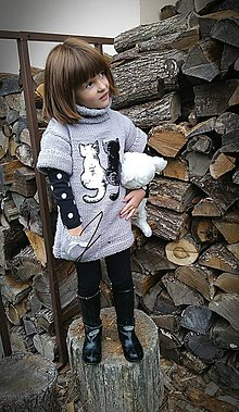 Detské oblečenie - Rolákové šaty s mačičkami - 8669817_