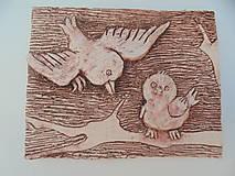 Vtáčiky reliéf -- keramika