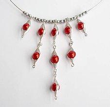 Náhrdelníky - Červený obručový náhrdelník - 8670310_