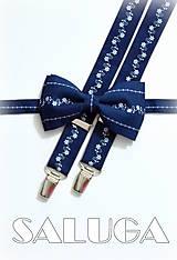 Doplnky - Pánsky set motýlik a traky - folklórny - modrotlač - tmavo modrý s bielym vzorom - 8671086_