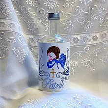 Nádoby - Ručne maľovaná fľaša ku krstu synčeka Anjelik - 8669004_