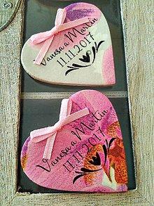 Darčeky pre svadobčanov - ružové magnetky s ornamentom - 8672333_