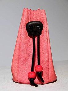 Peňaženky - meštek kožený ružový - 8669389_