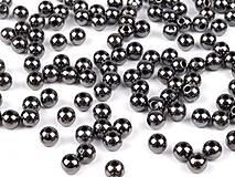 - Korálky 4mm, 100 ks - plastové Metalic tmavé sivé - 8671675_