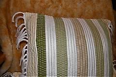 Úžitkový textil - Tkaná bielo-zelená obliečka na vankúš - 8669020_