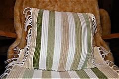 Úžitkový textil - Tkaná bielo-zelená obliečka na vankúš - 8669021_