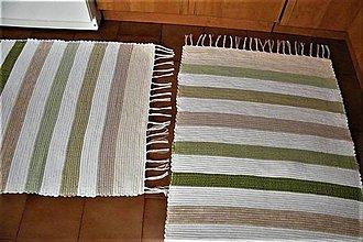 Úžitkový textil - Tkané koberce bielo-zeleno-béžové - 8669753_