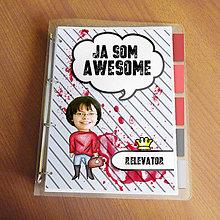 """Papiernictvo - Ja som awesome ,,všetkozošit"""" (pásiky a machule - v teple) - 8672093_"""