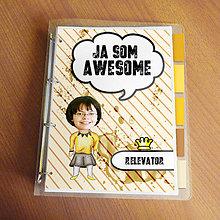 """Papiernictvo - Ja som awesome ,,všetkozošit"""" (pásiky a machule - horčicová) - 8672105_"""