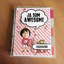 """Papiernictvo - Ja som awesome ,,všetkozošit"""" (pásiky a machule - žhavá) - 8672467_"""