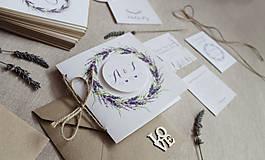 Papiernictvo - Svadobné oznámenie Levanduľa otváracie - 8672857_