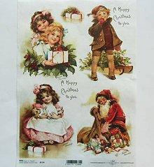 Papier - Ryžové papiere na decoupage A4 - R774 - Vianoce, dievčatko - 8673693_