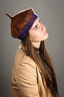 Čiapky - Hnedo fialová vlnená Baretka, Merino vlna, Plstená - 8673002_