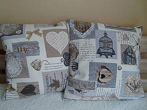 Úžitkový textil - Vankúšik so srdiečkami - obliečka - 8675164_