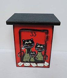 Dekorácie - Poštovní schránka-tři kočky-červená - 8675307_
