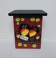 Dekorácie - Poštovní schránka-havraní rodinka s obálkou - 8676718_