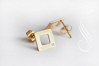 Komponenty - puzeta - zapínanie náušničkové zlaté - štvorec - 8675695_