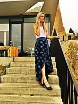 Sukne - Zavinovacia sukňa LEONA - modrotlač - 8675926_