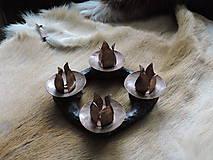 Svietidlá a sviečky - Adventný veniec, svietnik (medený) - 8677172_