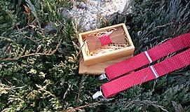 - Pánsky set - drevený motýlik a traky - 8674409_