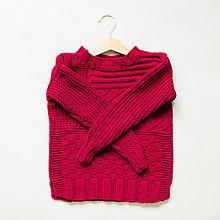 Detské oblečenie - dievčenský pulóver - bordový - 8675719_