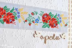 Papiernictvo - Svadobný fotoalbum - s farebnou krajkou - 8676394_