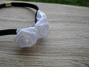 Ozdoby do vlasov - Pružná čelenka (čierno biela s ružičkami č.1393) - 8673720_