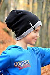 Detské čiapky - Zimná čiapka OBOJSTRANNÁ s menom Black & Dark grey - 8677566_