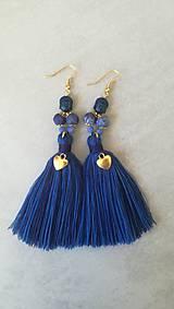 Náušnice - Modre BUDHA nausnicky - 8673717_
