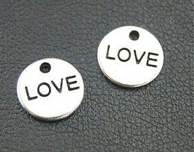 Komponenty - Prívesok mini LOVE strieborný - 8676780_