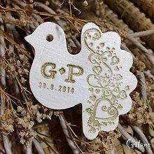 Darčeky pre svadobčanov - Keramická hrdlička s ornamentom a iniciálami - 8677102_