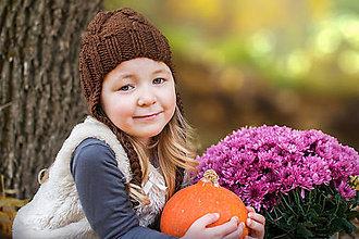 Detské čiapky - Zimná pletená OSMIČKA ... BROWN - 8679183_