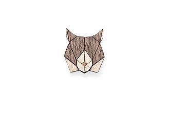 Odznaky/Brošne - Drevená brošňa Lynx Brooch - 8678286_