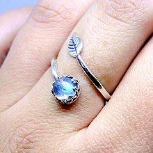 Prstene - Simple Leaf Silver Gemstone Ring Ag925 / Strieborný prsteň s minerálom (Labradorite / Labradorit) - 8679547_