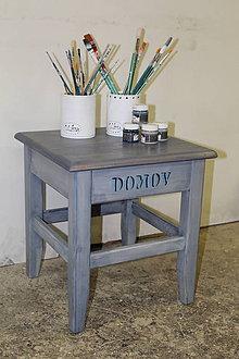 Nábytok - Hokerlík veľký - DOMOV modrá patina - 8678591_
