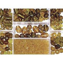 Korálky - Sklenené korálky – box, topaz - 8679702_