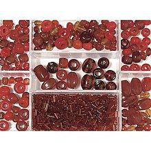 Korálky - Sklenené korálky – box, ruby - 8679905_