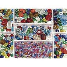 Korálky - Sklenené korálky – box, mix farieb - 8679930_